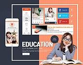 웹템플릿, 모바일템플릿, 휴대폰 (전화기), 스마트폰, User interface (Topic), UI KIT, 레이아웃, 교육 (주제), 학교, 학원, 중학생 (초중고생), 교복, 남학생, 여학생, 오브젝트, 한국인