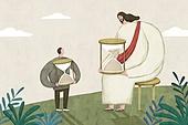 기독교, 종교, 예수, 회복 (컨셉), 모래시계, 평화