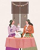 라이프스타일, 한복, 전통문화 (주제), 생활한복, 여성 (성별), 파티, 친구
