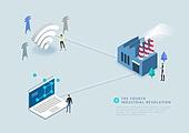 비즈니스, 4차산업혁명 (산업혁명), 산업, 기술, 혁신, 와이파이, 공장, 노트북