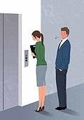 비즈니스, 네거티브이미지, 어두운표정 (감정), 스트레스 (컨셉), 성희롱, 비즈니스우먼 (사업가), 엘리베이터