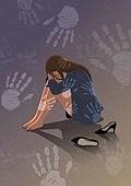 비즈니스, 네거티브이미지, 어두운표정 (감정), 스트레스 (컨셉), 성희롱, 비즈니스우먼, 손바닥자국 (모양), 하이힐, 성폭력