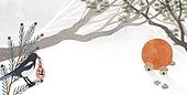 백그라운드, 새해 (홀리데이), 수채화 (회화기법), 동화, 까치