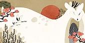 백그라운드, 새해 (홀리데이), 동화, 나무, 사슴 (발굽포유류), 프레임, 두루미