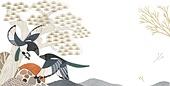 백그라운드, 새해 (홀리데이), 수채화 (회화기법), 동화, 까치, 태양 (하늘)