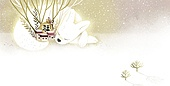 백그라운드, 새해 (홀리데이), 수채화 (회화기법), 동화, 강아지, 개띠해 (십이지신), 상상력 (컨셉)