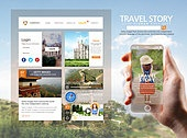 웹템플릿, 휴대폰 (전화기), 모바일템플릿 (유저인터페이스), User interface (Topic), UI KIT, 레이아웃, 여행, 가이드 (직업), 휴가, 휴식, 풍경 (컨셉), 한국인, 여성
