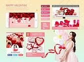 모바일템플릿, 스마트폰, UI KIT, 발렌타인데이 (홀리데이), 상업이벤트 (사건), 한국인, 여성, 사랑 (컨셉), 하트, 초콜릿, 선물 (인조물건)