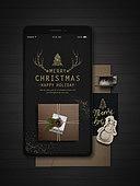 스마트폰, 편지, 연하장 (축하카드), 연례행사, 크리스마스, 크리스마스오너먼트 (크리스마스데코레이션), 연말, 선물상자