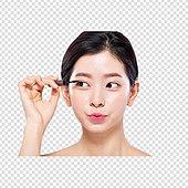 파워포인트 (이미지), PNG, 한국인, 여성, 20-29세 (청년), 깨끗함, 누끼, 라이프스타일, 마스카라, 미녀, 피부
