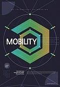 포스터, 5G, 4차산업혁명 (산업혁명), 초현대적 (컨셉), 기하학 (수학), 기하학모양, 육각형 (이차원모양), Mobil