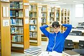 한국인, 대학생, 대학교, 도서관, 공부, 남성, 취업준비생, 트레이닝복 (운동복), 스트레스