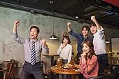 한국인, 화이트칼라 (전문직), 펍 (바), 월드컵축구, 환호 (말하기), 흥분