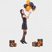 파워포인트 (이미지), PNG, 누끼, 한국인, 여성, 20-29세 (청년), 미녀 (아름다운사람), 할로윈 (홀리데이), 풍선, 선물 (인조물건), 검정색 (색상), 드레스 (의복), 파티