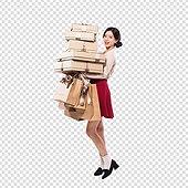 파워포인트 (이미지), PNG, 누끼, 한국인, 여성, 20-29세 (청년), 미녀 (아름다운사람), 쇼핑, 선물 (인조물건), 선물상자, 금 (금속), 리본 (장식품), 쇼핑백, 상업이벤트 (사건)