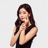 파워포인트 (이미지), PNG, 누끼, 한국인, 여성, 20-29세 (청년), 미녀 (아름다운사람), 라이프스타일, 검정색 (색상), 뷰티