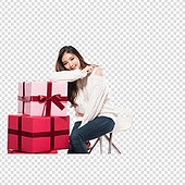 파워포인트 (이미지), PNG, 누끼, 한국인, 여성, 20-29세 (청년), 미녀 (아름다운사람), 선물상자, 청바지, 축하이벤트 (사건), 생일