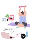 라이프스타일, 여성 (성별), 다이어트, 건강관리 (주제), 건강한생활 (주제), 비만, 아령 (웨이트), 운동매트 (운동기구)