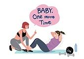 라이프스타일, 여성 (성별), 다이어트, 운동 (스포츠), 건강관리 (주제), 윗몸일으키기 (근육강화운동), 코치 (강사), 비만