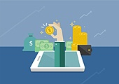 일러스트, 벡터파일 (일러스트), 평면 (물체묘사), 플랫디자인 (이미지), 금융, 은행 (금융빌딩), 가상화폐, 동전 (화폐), 대출, 모바일뱅킹, 인터넷뱅킹 (전자상거래), 스마트폰, 화폐