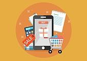 일러스트, 벡터파일 (일러스트), 평면 (물체묘사), 상업이벤트 (사건), 세일 (사건), 쇼핑, 신용카드결제 (신용카드), 모바일결제 (금융아이템), 화폐, 인터넷뱅킹, 선물상자, 온라인쇼핑