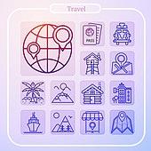 아이콘, 모바일아이콘, 라인아이콘, 픽토그램, 여행, 휴가, 휴식, 호텔, 휴양지 (휴가), 휴가 (주제)