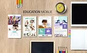 웹템플릿, 모바일템플릿, 스마트폰, User interface (Topic), UI KIT, 레이아웃, 탑앵글 (시점), 교육 (주제), 학원, 오브젝트