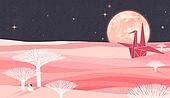 백그라운드 (주제), 풍경 (컨셉), 상상력 (컨셉), 환상 (컨셉), 동화, 종이학, 보름달, 밤 (시간대), 하늘, 초현실