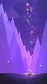백그라운드 (주제), 풍경 (컨셉), 상상력 (컨셉), 환상 (컨셉), 동화, 숲, 보라 (색상), 보라배경 (유색배경), 오로라 (빛효과), 밤 (시간대), 초현실
