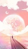 백그라운드 (주제), 풍경 (컨셉), 상상력 (컨셉), 환상 (컨셉), 동화, 하늘, 구름, 달 (하늘), 초현실, 철도 (길)