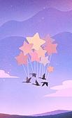 백그라운드 (주제), 풍경 (컨셉), 상상력 (컨셉), 환상 (컨셉), 동화, 하늘, 회색기러기 (거위), 조류 (척추동물), 별, 초현실