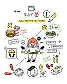 캐릭터 (컨셉), 라인아트 (일러스트기법), 라이프스타일, 버킷리스트, 성취 (성공), 다이어트