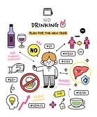 캐릭터 (컨셉), 라인아트 (일러스트기법), 라이프스타일, 버킷리스트, 성취 (성공), 술 (음료), 금주
