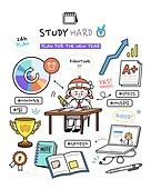 캐릭터 (컨셉), 라인아트 (일러스트기법), 라이프스타일, 버킷리스트, 성취 (성공), 공부, 공부 (움직이는활동), 노트북