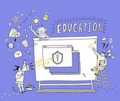 일러스트, 교육 (주제), 교육직 (전문직), 교과목 (사건), 가르치는 (움직이는활동), 4차산업혁명 (산업혁명)