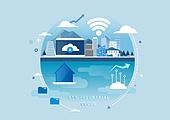 비즈니스, 신기술, 4차산업혁명 (산업혁명), 기술, 발전 (컨셉), 와이파이, 컴퓨터네트워크 (컴퓨터장비), 클라우드컴퓨팅 (인터넷)