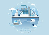 비즈니스, 신기술, 4차산업혁명 (산업혁명), 기술, 발전 (컨셉), 건설 (산업), 로봇, 로봇팔 (로봇), 공업용로봇팔 (생산장비)