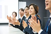 한국인, 비즈니스, 회의실, 화이트칼라 (전문직), 비즈니스미팅, 프로젝트, 박수, 성공, 팀워크 (협력)