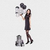 파워포인트 (이미지), PNG, 누끼, 한국인, 여성, 20-29세 (청년), 검정색 (색상), 축하이벤트 (사건), 블랙프라이데이, 풍선, 선물 (인조물건), 선물상자, 세일 (사건)