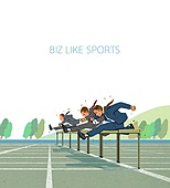 비즈니스, 스포츠, 비즈니스맨, 슈트 (옷), 육상경기 (스포츠), 허들 (스포츠용품), 장애물넘기 (단거리경주)