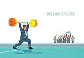 비즈니스, 스포츠, 비즈니스맨, 슈트 (옷), 역도, 들어올리기, 관중