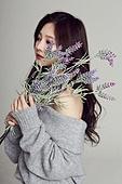 한국인, 여성, 뷰티, 아름다움, 꽃, 순수, 겨울, 스웨터 (상의)