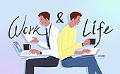 라이프스타일, 라이프밸런스 (컨셉), 캘리그래피 (문자), 화이트칼라 (전문직), 노트북, 비즈니스맨