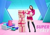 인테리어, 청년여자 (성인여자), 쇼핑, 세일 (사건), 선물 (인조물건)