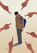 교육 (주제), 학교폭력, 교복, 폭력, 네거티브이미지, 포인팅 (손짓), 왕따