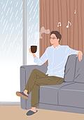 행복, 행복 (컨셉), 욜로 (컨셉), 즐거움 (컨셉), 라이프스타일, 커피 (뜨거운음료), 거실, 남성 (성별)
