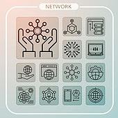 아이콘, 아이콘세트 (아이콘), 웹아이콘, 모바일어플리케이션 (인터넷), 픽토그램, 라인아이콘, 컴퓨터네트워크 (컴퓨터장비), 네트워크보안, 블록체인, 네트워크서버 (컴퓨터네트워크), 인터넷, 4G, 5G, 뇌 (인체내부기관)