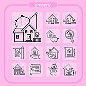 아이콘, 아이콘세트 (아이콘), 웹아이콘, 모바일어플리케이션 (인터넷), 픽토그램, 라인아이콘, 부동산, 건설업 (산업), 건축, 집, 전세, 월세, 판매 (상업활동), 중개인 (판매업), 재개발, 주택개발 (주거건물), 화폐 (금융아이템)