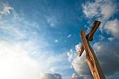 십자가,부활절,고난주간,사순절,파랑,하늘풍경,맑음,역광,햇빛,구름