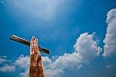 십자가,부활절,고난주간,사순절,파랑,하늘풍경,구름,영광,햇빛